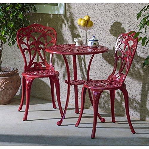 Alfresco Home Tabletop - Alfresco Home Triora Cast Aluminum Bistro Set, Lipstick Red Finish