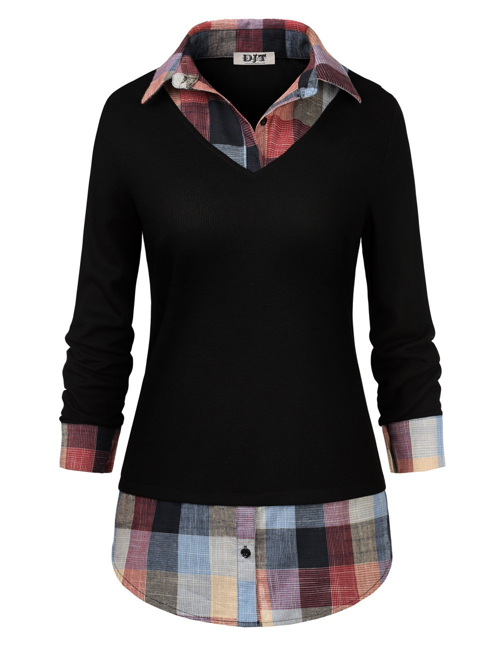 Women's Plaid Layered T-Shirt, DJT Curved Hem Buttons Pullover Tops 3/4 Sleeve Sweatshirt T-Shirt Top XXL Black