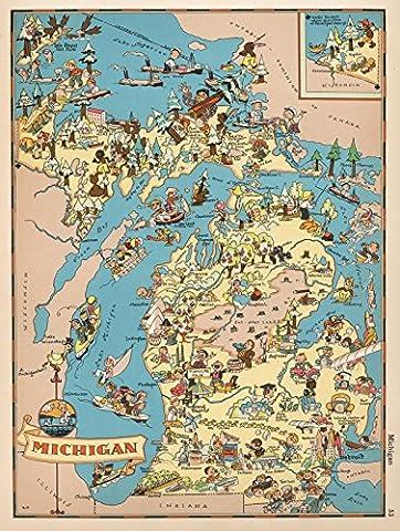 National Atlas Map, Michigan. 1935 | Historic Antique Vintage Map Reprint - Michigan Antique Map