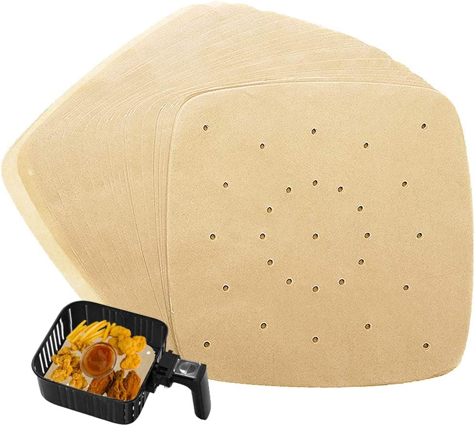 200Pcs Square 8.5 Inch Air Fryer Liners,Unbleached Perforated Square Air Fryer Parchment Paper,Non-Stick Steamer Mat for air fryer,ovens & microwaves or 8-9 inches bamboo or metal steamers
