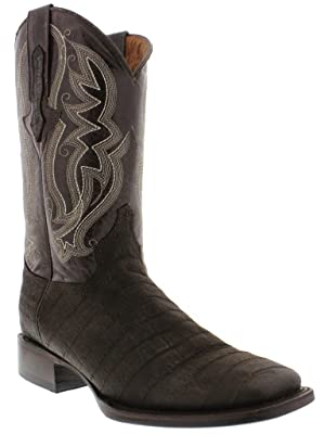 Veretta Boots - Men's Brown Crocodile Belly Design Leather Boots Broad Square Toe