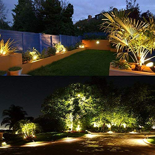 ZUCKEO 5W LED Landscape Lights with Transformer 12V 24V Waterproof Garden Pathway Lights Warm White Walls Trees Flags Outdoor Spotlights with Spike Stand (8 Pack with Transformer) by ZUCKEO (Image #8)