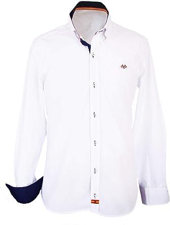 Pi2010 Camisa Bandera de España Hombre Blanca con Marino: Amazon.es: Ropa y accesorios