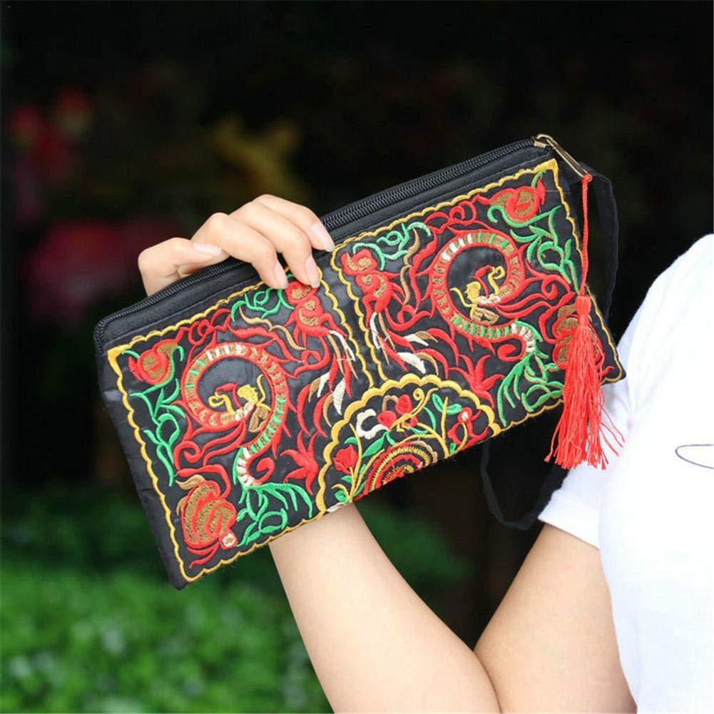 Lady sac /à main sac /à main /à la main Nation r/étro brod/é sac portefeuilles Zip bracelets ethniques Style brod/é Clutch Bag /à la mode exquise broderie Wallet Satin brod/é embra Sac /à main de femme