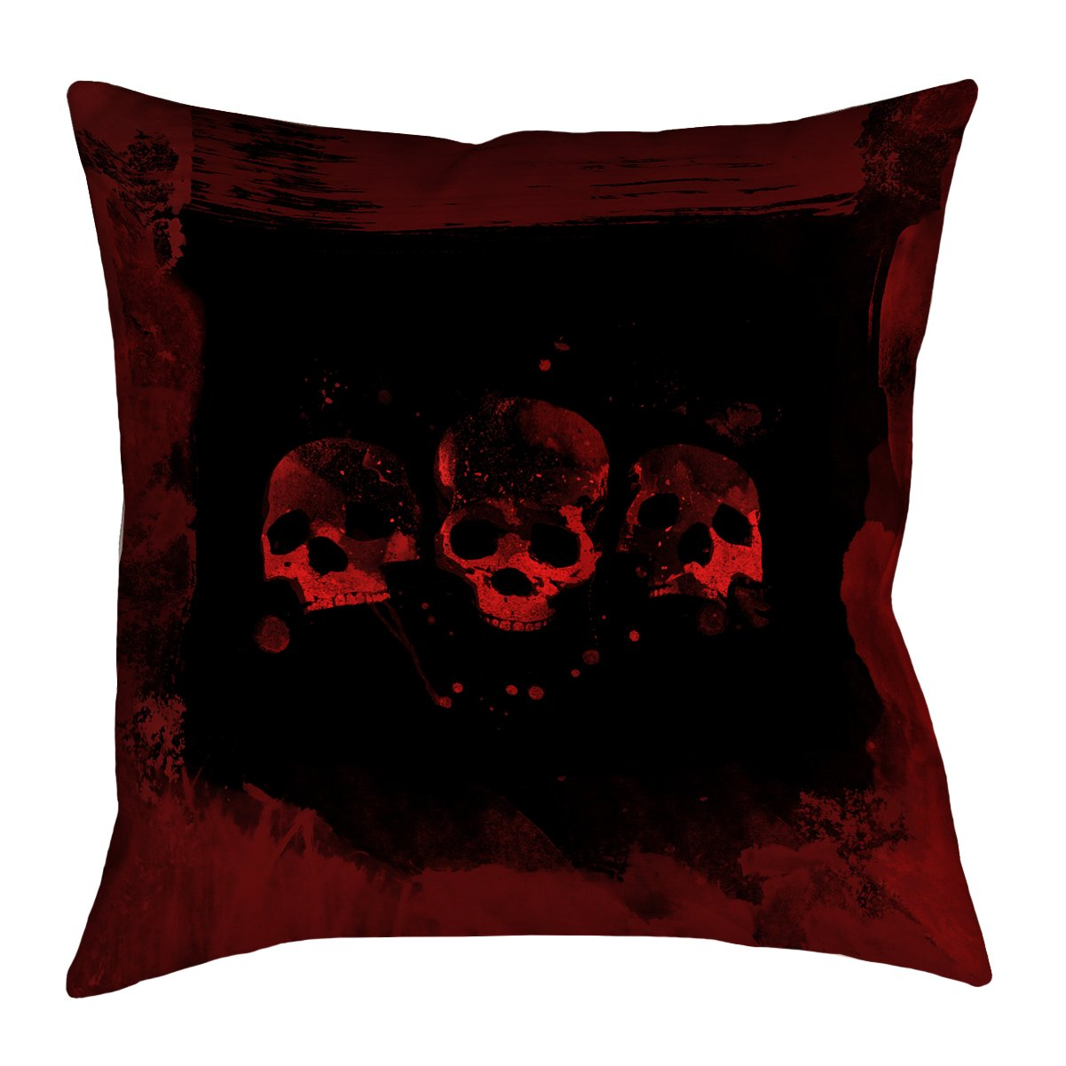 ArtVerse Katelyn Smith 20' x 20' Outdoor Cushions UV Properties + Waterproof and Mildew Proof Spooky Watercolor Skulls Pillow