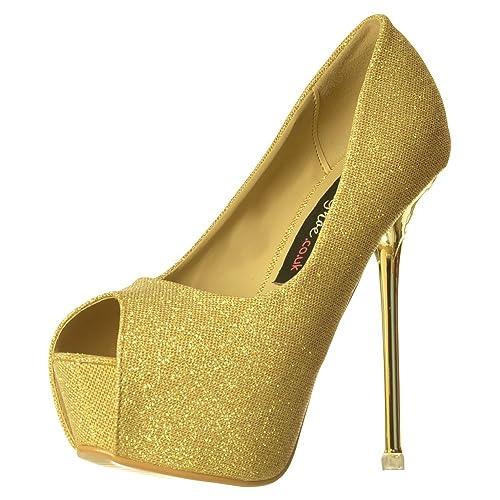 9cbed9374df73 Onlineshoe Women's Party Mid Heel Glitter Court, Peep Toe Shoes - Gold Heel  Detail - Gold, Silver, Black