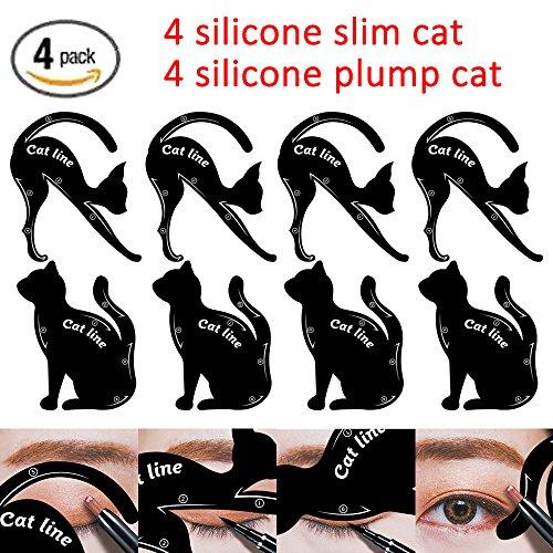 Cat Eyeliner Stencil Silicone Smoky Eyeshadow Applicators Template Plate Multifunction Cat Shape Eye liner Eye Shadow Guide Repeatable Professional Eye Makeup Card Tools Black 4 Pack