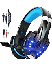 IMMOSO PS4 Headset , 3.5mm Surround Sound Headset mit Mikrofon ,Over-Ear Kopfhörer für PlayStation 4, Xbox One(s), Nintendo Switch ,  PC, MAC, Tablet, handy (Blau)