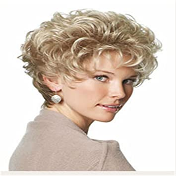 Women S Wig Sexy Lady Wigs Women Short Curly Wavy Blonde Light Brown Wonderful Highlight Natural Full Hair Wig For White Women Lady Girl