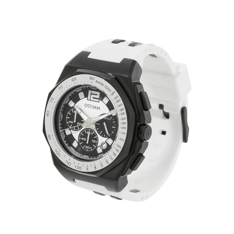 OTUMM Herren-Armbanduhr Sports Tachymeter 45 mm - schwarz-weiß Chronograph Quarz Kautschuk 02187