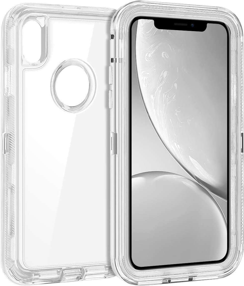 Coolden Hybrid Clear Phone Case for iPhone XR 6.1 Inches, Heavy Duty Protective Dual Layer Shockproof Case with Hard PC Bumper Soft TPU Back for 2018 Release Apple iPhone XR 10R, Transparent