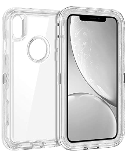 best service 3596e fe792 Coolden Hybrid Clear Phone Case for iPhone XR 6.1 Inches, Heavy Duty  Protective Dual Layer Shockproof Case with Hard PC Bumper Soft TPU Back for  2018 ...