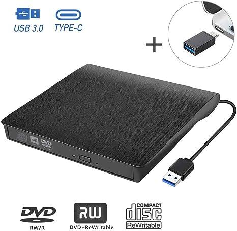 tronisky - Unidad Externa de CD/DVD, portátil USB 3.0 & Type-C Unidad Externa CD/DVD-RW grabadora para portátil, Escritorio, MacBook/Pro/Air, Windows XP/Vista/7/8/10, Linux y Mac OS, Plug & Play: Amazon.es: Informática