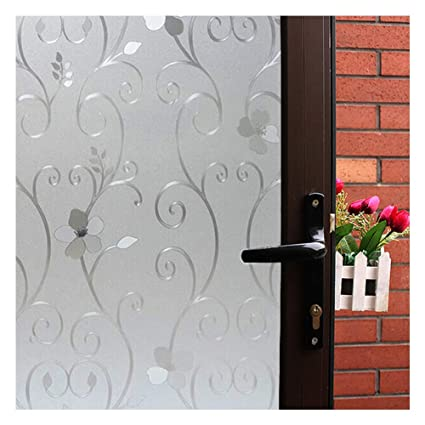 3D Flower Privacy Window Film FrostedTranslucent Decorative Glass Door FilmNo Adhesive Stained