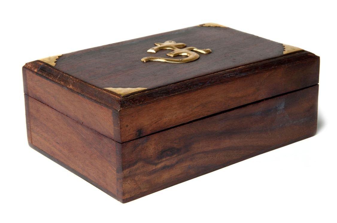 Find Something Different Trovare Qualcosa di Diverso in Legno con intarsi in Ottone Aum Tarot Box, bambù 909493