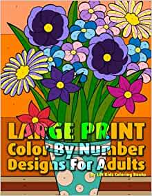 Large Print Color By Number Designs For Adults (Premium ...