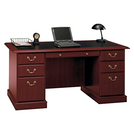 Bush Furniture Saratoga Executive Home Office Wood Manageru0027s Desk In Cherry
