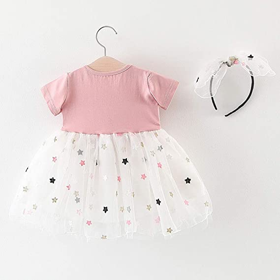 YWLINK Cute Baby Girl Clothes Toddler Kids Patchwork Stars Tulle Casual Childrens Short Sleeve Mesh Splicing Star Princess Dress Colorful Tutu Christening Gowns♛Baby Girls 0-24m♛