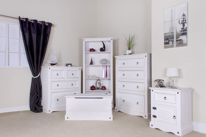 Corona White Pine 33 Drawer Wide Chest Corona Whitewash Furniture