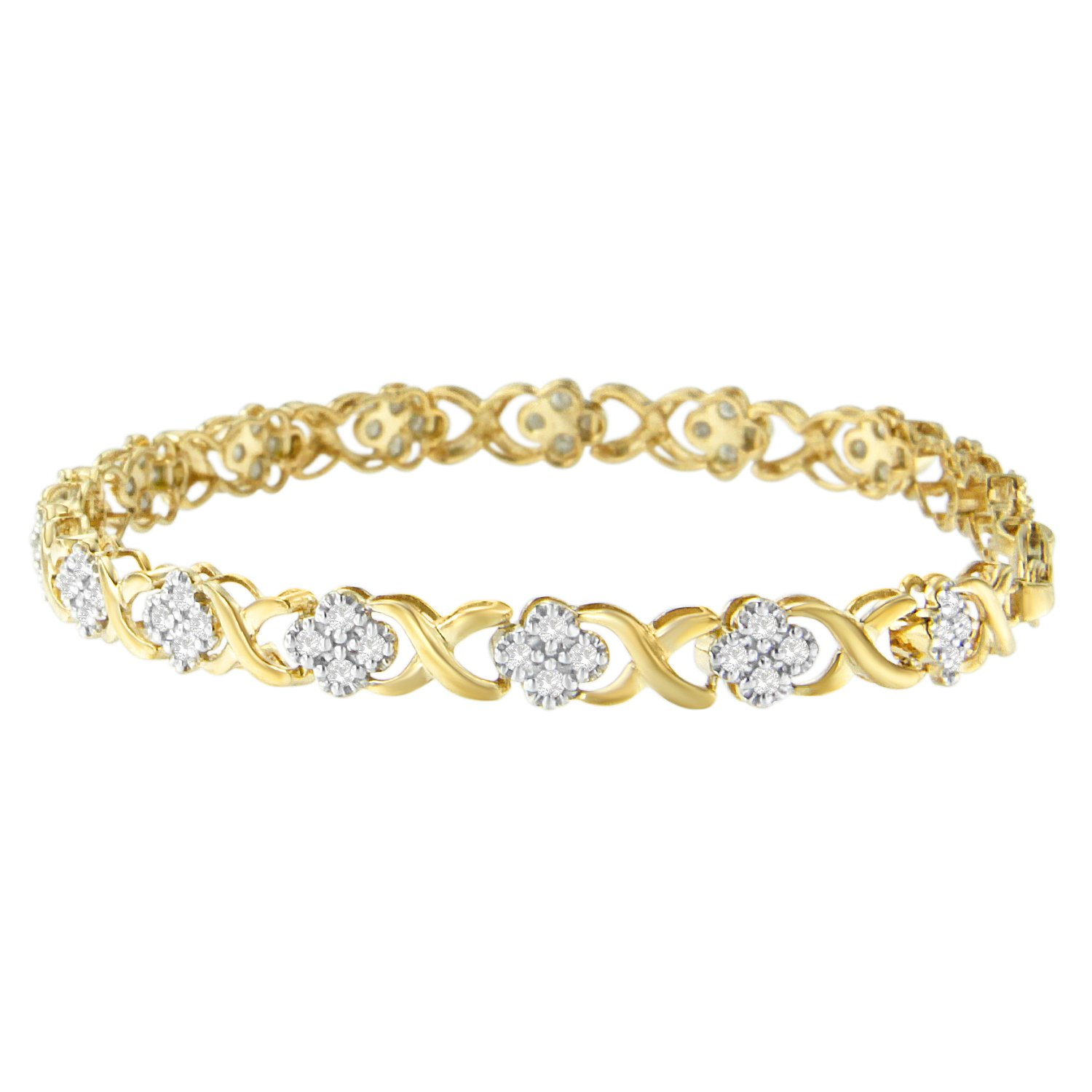 Yellow Plated Sterling Silver Diamond Floral Cluster Link Bracelet (1cttw, H-I color, I3 clarity)