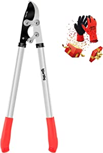 Yartting Bypass Loppers with Compound Action, 28 Inch Branch Cutter Heavy Duty, Tree Cutter with 1-3/4 Inch Clean Cut Capacity (Silver)