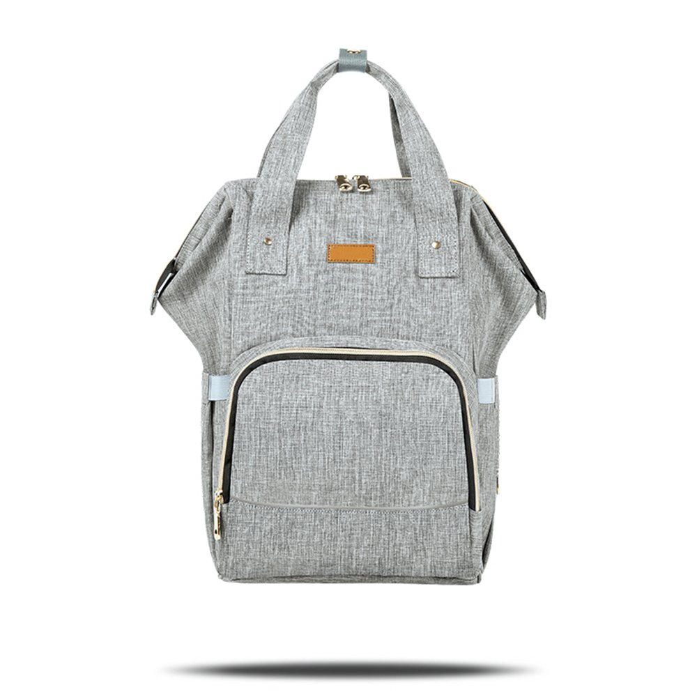 Diaper Bag Oxford Multi-Function Backpack Waterproof Travel Nappy Bag with Reflective Stripe (Grey) by Mufly