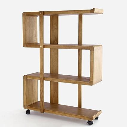 Amazon Bookshelf Bookcase Home Storage Movable Shelves Landing Shelf Belt Wheel Bedroom Solid Wood Living Room Display Furniture