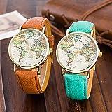 Unisex orologio al quarzo mappa del mondo oro antico Cinturino in pelle blu