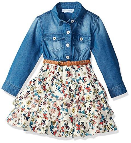 Denim Floral Jeans - Bonnie Jean Big Girls' Chambray Dress, Floral Shirtdress, 14