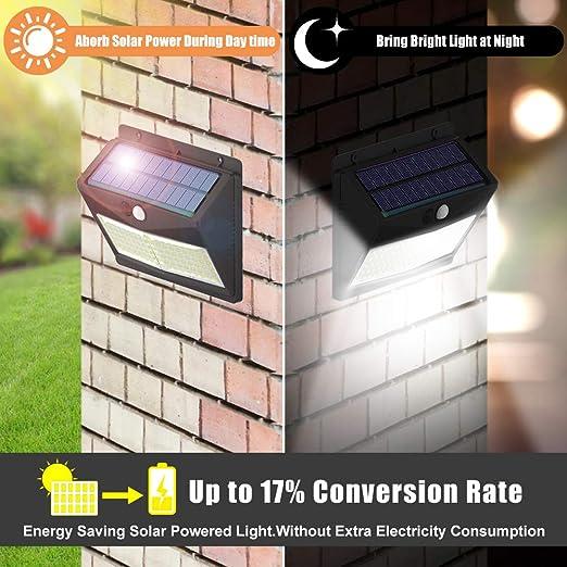 Luz Solar Exterior, 【3 Modos 108 LED - Super Brillante】SINJIAlight 180 Grados Foco Solar con Sensor de Movimiento IP65 Impermeable Lámpara Solar 2000mAh para Jardín - 4 Paquete: Amazon.es: Iluminación