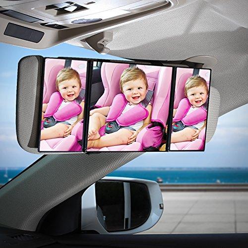 AUTSCA Car Sun Visor Mirror Foldable Makeup Mirror Car Interior Cosmetic Mirror(12in x 5.5in, black)