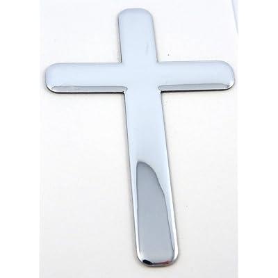 "Jesus Cross Chrome Finish Decal Emblem 3D Sticker car Bike auto 2""x3"": Automotive"