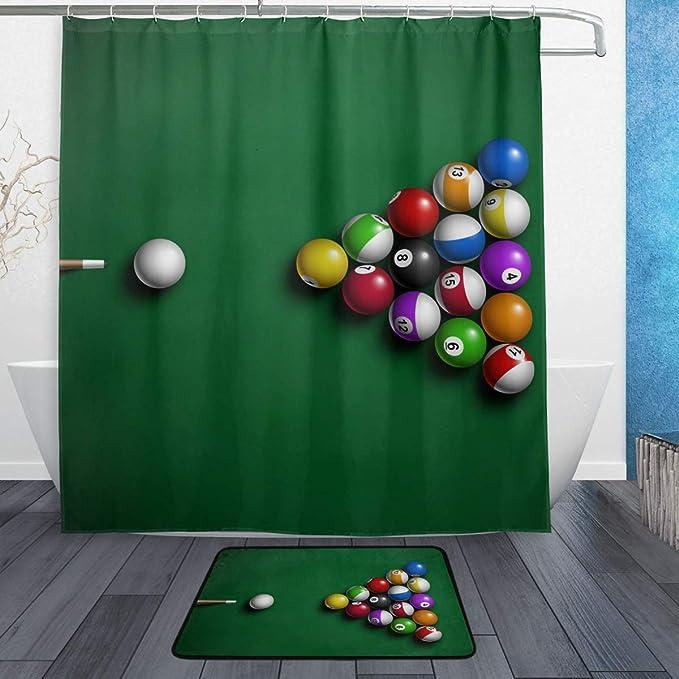 DragonSwordlinsu COOSUN Juego de baño con bolas de billar de tela de poliéster (167 x 183 cm) con alfombras de baño (15.7 x 23.62 pulgadas) – 12 anillos: Amazon.es: Hogar