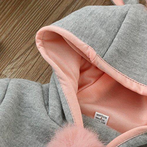 Omiky® Baby-Säuglingsmädchen-Herbst-Winter-mit Kapuze Mantel-Mantel-Jacke-starke warme Kleidung Grau