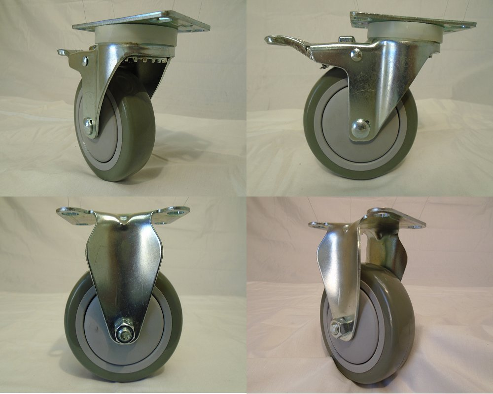 4'' X 1-1/4'' Swivel Caster Gray Polyurethane Wheel with Brake 400 Lbs Each (2) and Rigid(2) Tool Box by Creative Industrial Sales (Image #1)