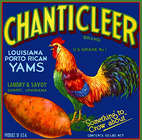 A SLICE IN TIME Sunset Louisiana Chanticleer Brand Rooster Chicken Sweet Potato Potatoes Yam Yams Vegetable Crate Box Label Art Print Travel Advertisement Poster