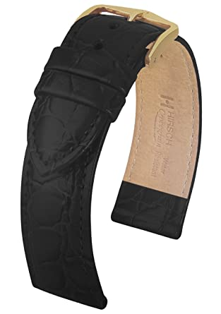 2797f9884 Hirsch Crocograin L Mens Black Leather Watch Strap 18mm 12322850-1-18:  Amazon.co.uk: Watches