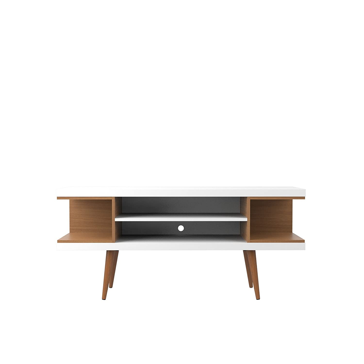 Manhattan Comfort Utopia Collection Mid Century Modern TV Stand With Open 3 Open Shelves and Two Open Cubbies, White Wood