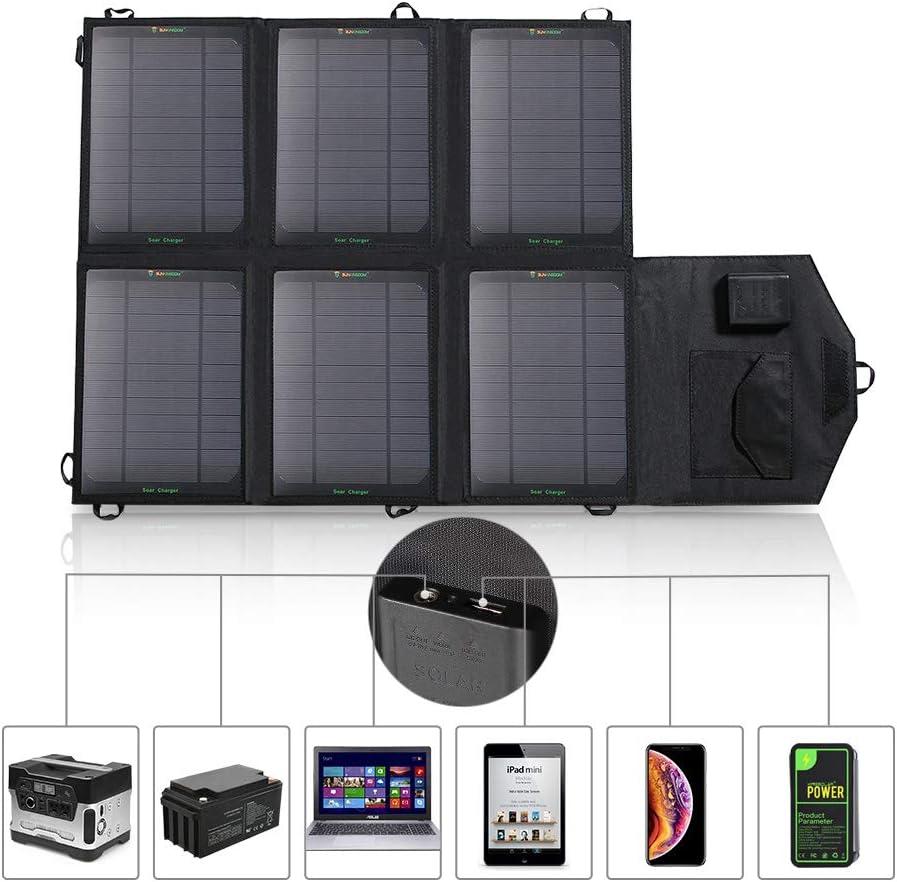 SUNKINGDOM - Batería de Panel Solar Plegable y portátil de 39 W, con Doble Salida (CC5521 18 V y USB 5 V) para Camping