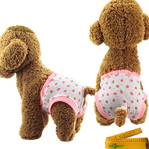 Image of Washable Reusable Elastic Strawberry Printed Dog Pet Diapers Cover Up Sanitary Panties for Female Girl Dogs Puppy in Spring Summer Autumn,2 Pack (A)