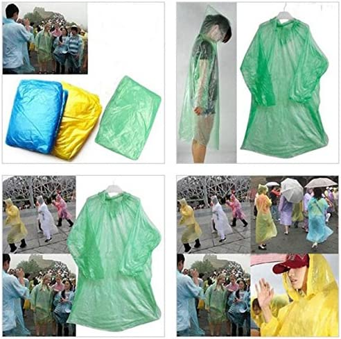 Voberry 20 Pack Rain Ponchos Disposable Adult Emergency Waterproof Rain Coat Poncho Hiking Camping Hood for Families Emergency Waterproof Rain Poncho with Drawstring Hood Raincoat Multicolor