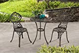 Vinely Cast Outdoor 3 Piece Cast Iron Patio Bistro Set in Jet Black Finish Chairs (16.14W x 19.29D x 33.07H in.) Table(24 diam. x 28.3H in.)