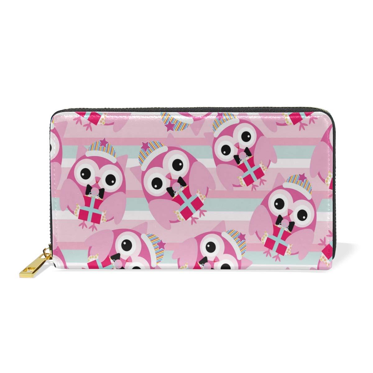 Women Genuine Leather Wallet Pink Owls Zipper Purse Girl Phone Clutch