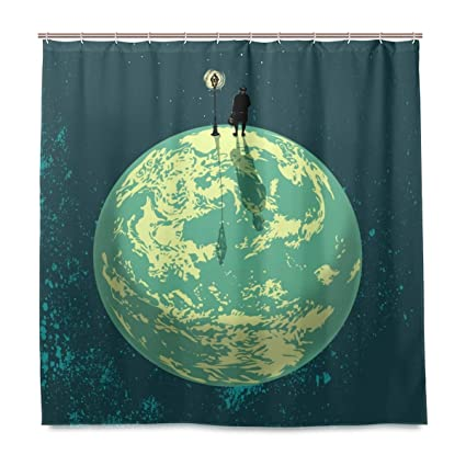 Water Repellant Lonely Planet Shower Curtain Sets With Hooks For Bathroom No Liner Needed