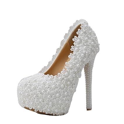 check out 1aea1 b7efc Brautschuhe - elegante Spitze Blumen Hochzeit Schuhe weiß hochhackige Perle  Braut Schuhe Hochzeit Schuhe (mit hoch: 14cm) (Farbe : Weiß, größe : 38)