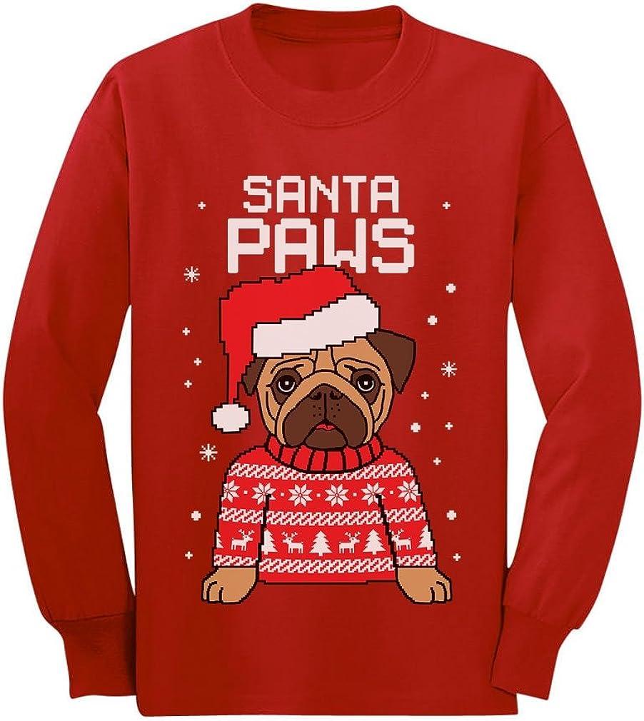 Ladies White Santa Paws T-Shirt Shirt Christmas Xmas Puppy Dog