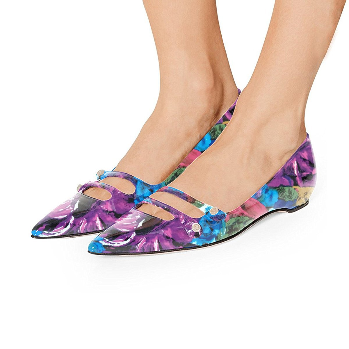 YDN Women Pointed Toe Slip on Flats Hidden Low Heels Pumps Comfort Shoes with Straps B07F81YKCL 12 M US|Purple Floral