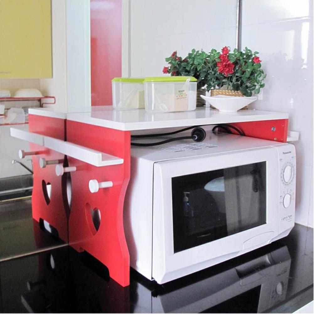 LIANGJUN Di Legno Mensola Microonde Scaffale Cucina Bottiglie Di Condimento 6 Ganci, 56X35X28cm, Rosa Rossa