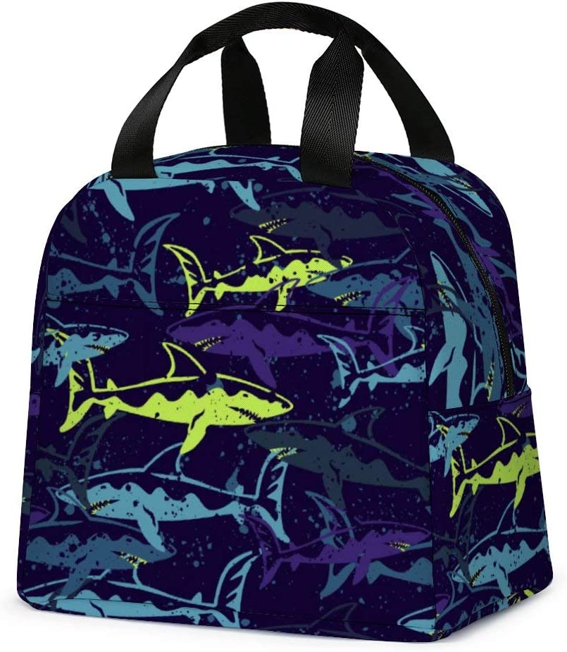 Shark Lunch Bag, Cute Kids Insulated Lunch Box Reusable Cooler Tote Bag Multi-functional School Lunch Container for Teen Boys Girls (Dark Purple)