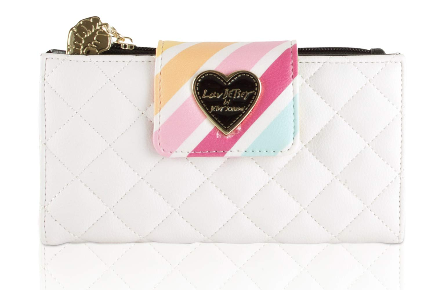 Betsey Johnson Luv Lbace Quilted Flap Bifold Clutch Wallet Purse - Rainbow